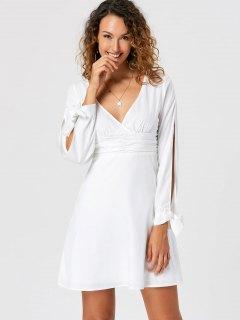 Tie Cuff Slit Sleeve Skater Dress - White 2xl