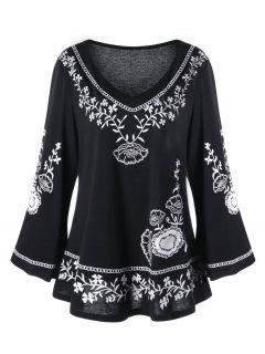 Plus Size Monochrome Floral Flare Sleeve Top - Black 2xl