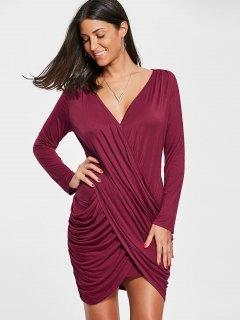 Long Sleeve Jersey Drape Dress - Red 2xl