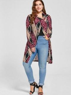 Plus Size Geometric Cowl Neck Knit Top - 5xl