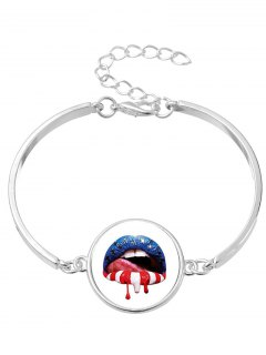 Halloween Star Blood Lips Bangle Bracelet - Silver