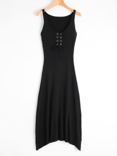 Sleeveless Lace Up Knitted Dress - Black