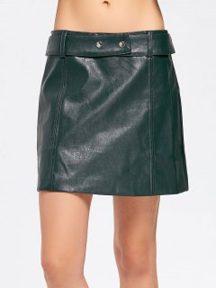 Belted Faux Leather A Line Mini Skirt - Blackish Green S