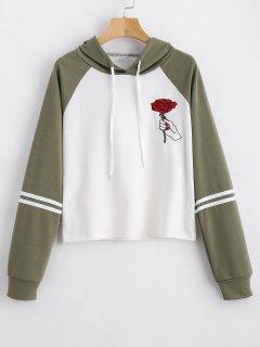 Floral Patched Drawstring Raglan Sleeve Hoodie - Army Green L