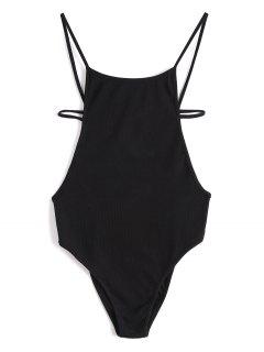 Criss Cross Backless Knitted Bodysuit - Black S