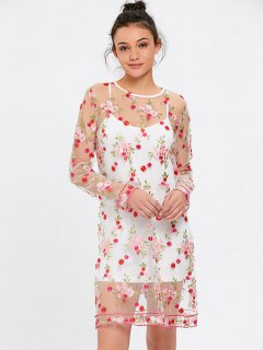 See Thru Floral Embroidered Dress With Cami Dress - White L