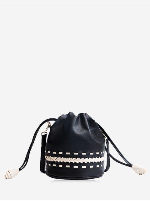 hot Drawstring Braid Crossbody Bag - BLACK  Mobile