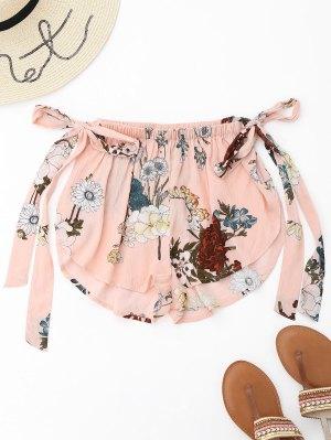 Side Slit Floral Tied Cover Up Shorts
