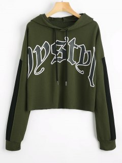 Letter Graphic Contrast Drawstring Hoodie - Army Green