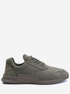 Round Toe Tie Up Sneakers - Gray 41