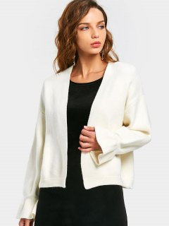 Open Front Flare Sleeve Cardigan - White