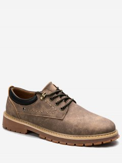 Stitching Lace Up Low Top Casual Shoes - Brown 41