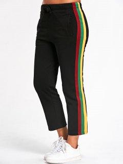 Drawstring Striped Running Pants - Black M