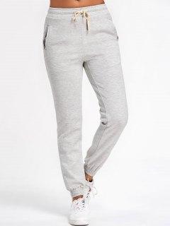 Running Drawstring Jogger Pants - Light Gray S