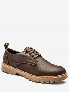 Faux Leather Lace Up Low Top Casual Shoes - Brown 41