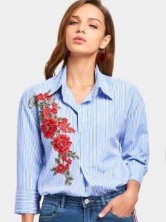 Chemise à Rayures à Rayures à Fleurs - Bleu Clair Xl