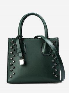 Faux Leather Stud Handbag - Green