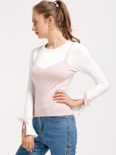 Flare Sleeve Bowknot Two Tone Sweater - Pink