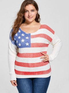 Plus Size American Flag Sweater - White 5xl