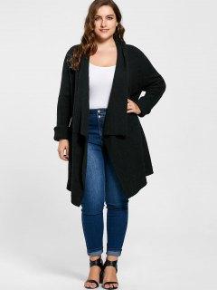 Plus Size Ribbed Drape Cardigan - Black 2xl