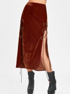 Lace Up High Slit Maxi Velvet Skirt - Sugar Honey 2xl