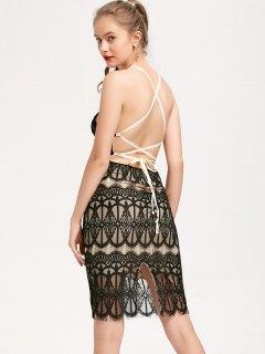 Backless Criss Cross Slip Lace Dress - Black