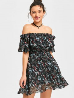 Floral Flounce Off The Shoulder Dress - Black S