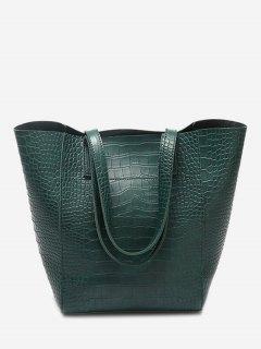 PU Leather Embossed Pattern Shoulder Bag - Green