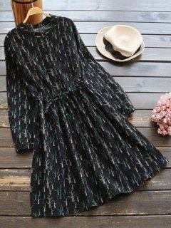 Printed Drawstring Waist A Line Dress - Black