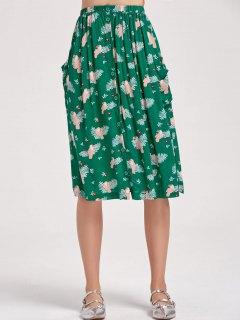 Button Up Bird A Line Midi Skirt - Green M