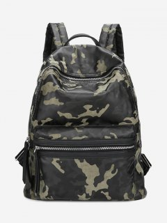 PU Leather Camouflage Pattern Backpack - Green