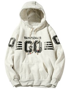 Hooded Graphic Stripe Print Fleece Pullover Hoodie - Off-white M