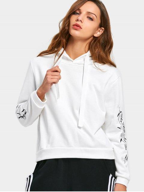 Sweat à capuche à cordon en patchwork floral brodé - Blanc XL Mobile