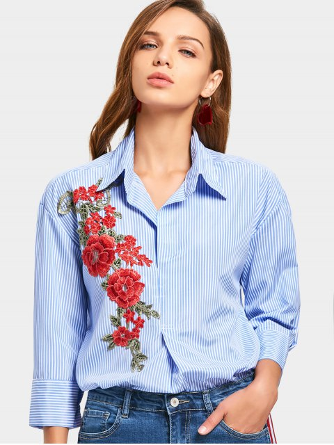 Chemise à rayures à rayures à fleurs - Bleu clair XL Mobile