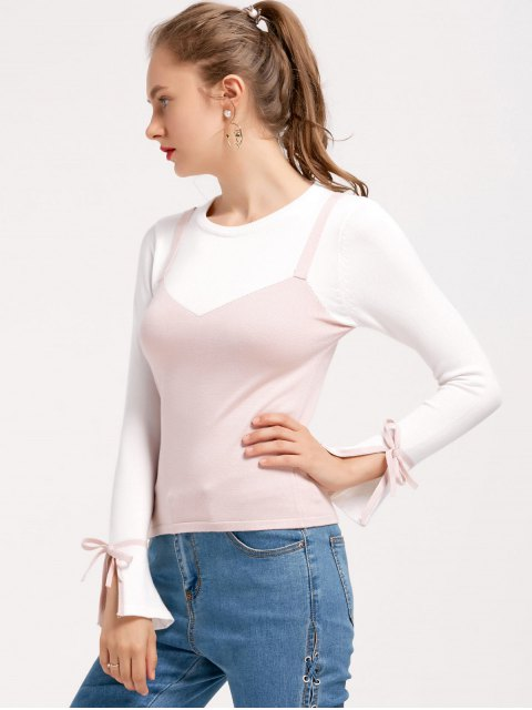 Flare Sleeve Bowknot Two Tone Sweater - ROSE PÂLE TAILLE MOYENNE Mobile