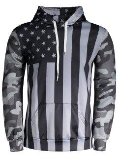 Camo American Flag Hoodie - Black And Grey M