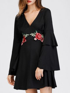 Tiered Flare Sleeve Floral Patched Dress - Black S