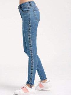 Skinny Lace Up Pencil Jeans - Denim Blue S