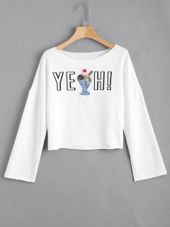 Open Sleeve Letter Sequined Top - White 2xl