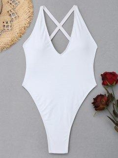 Cross Back High Cut Swimsuit - White S