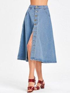Denim Button Up Midi Skirt - Denim Blue S
