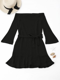 Knitted Off The Shoulder Cover-up Dress - Black M
