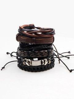 Retro Faux Leather Woven Bracelets Set - Brown
