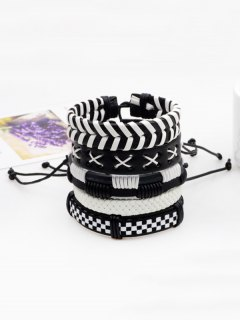 Layered Vintage Faux Leather Woven Bracelet Set - Black