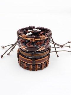 Vintage Artificial Leather Woven Friendship Bracelets Set - Brown