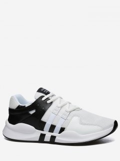 Round Toe Low Top Mesh Sneakers - Black White 41