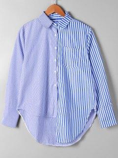 Patch Pocket Striped Asymmetrical Shirt - Blue Stripe Xl
