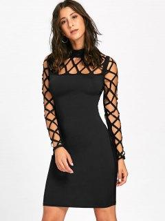 Cut Out Argyle Long Sleeve Bodycon Dress - Black 2xl