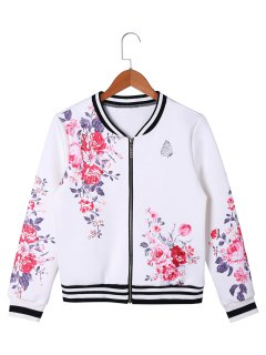Veste De Baseball Floral Zip Up - Blanc 2xl