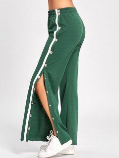 Side Slit Button Up Wide Leg Pants - Green M